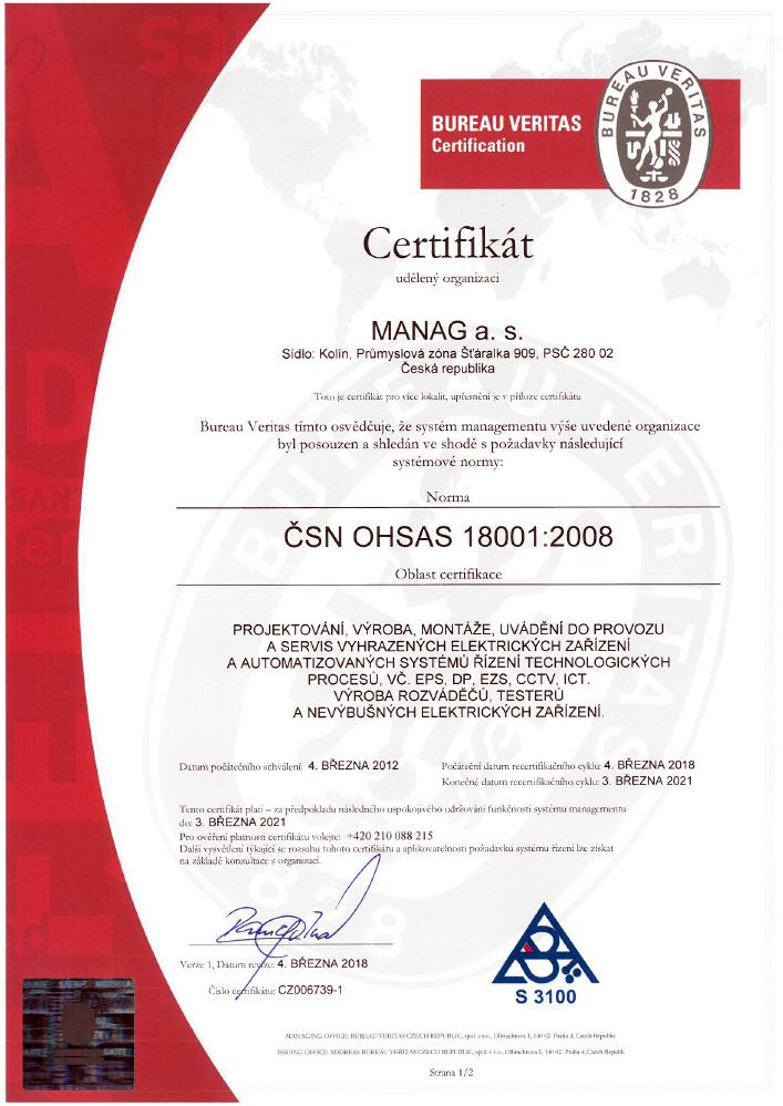 Náhled certifikátu ČSN OHSAS 18001 společnosti Manag Machines