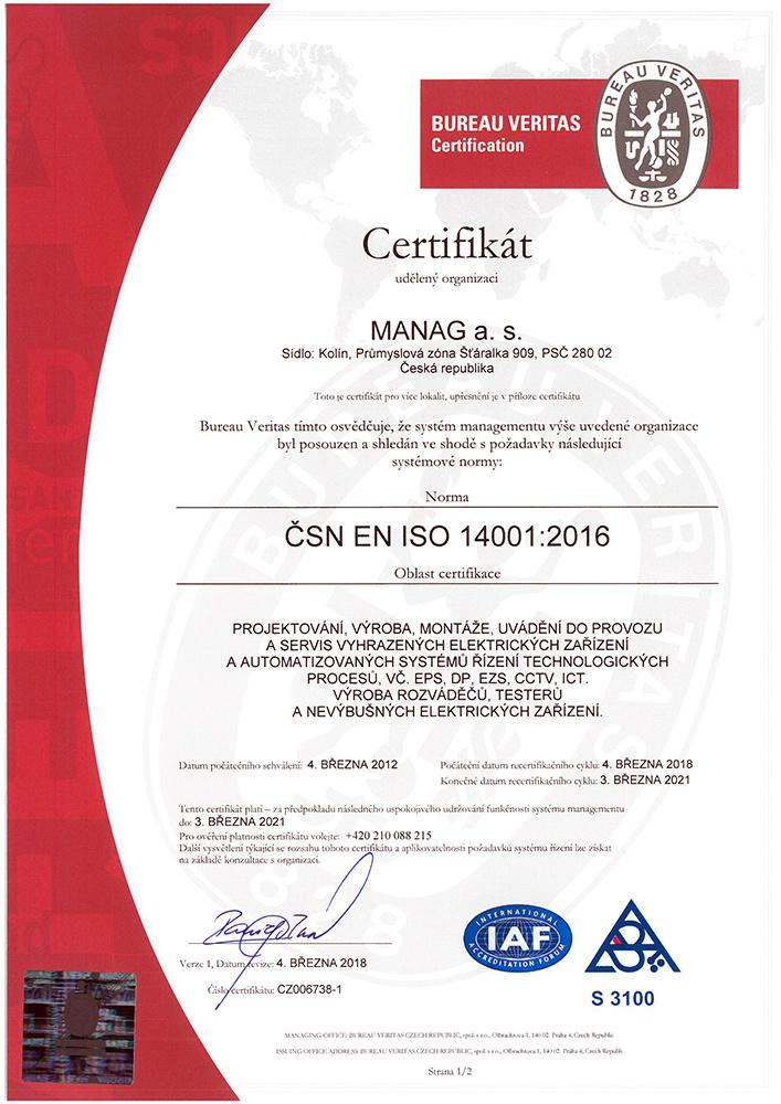 Náhled certifikátu ČSN EN ISO 14001 společnosti Manag Machines