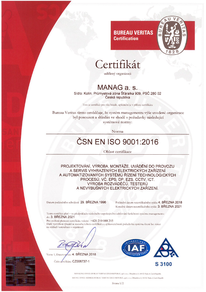 Náhled rertifikátu ČSN EN ISO 9001 společnosti Manag Machines
